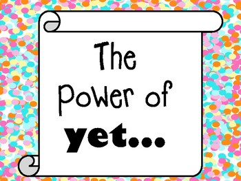 Growth Mindset (SEL)power of YET posters CONFETTI THEME