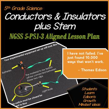 5th Grade Science: Conductors & Insulators plus Stem NGSS 5-PS1-3 Aligned Lesson