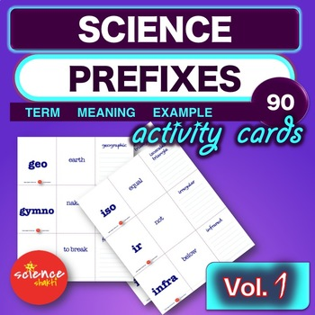 Science PREFIX Word Task Card Vocabulary Activity *Vol.1* NO PREP