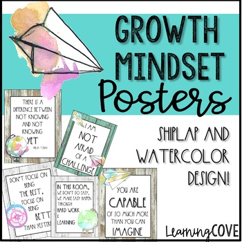 Growth Mindset Shiplap and Watercolor Posters! 3 Colors of Farmhouse Shiplap!