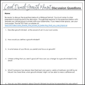 Growth Mindset Activity, a Socratic Seminar Using Carol Dweck's TED Talk