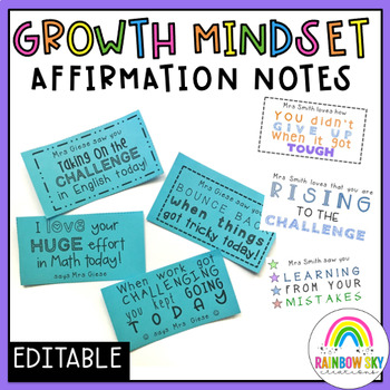 Growth Mindset Student Affirmation Notes from the Teacher