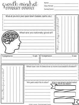 Growth Mindset Student Survey Pack By The Daring English