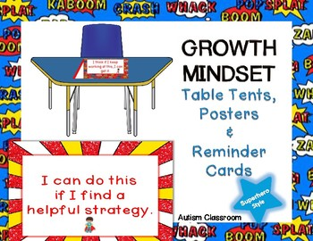 Growth Mindset (Superhero Theme) Table Tents, Posters & Reminder Cards