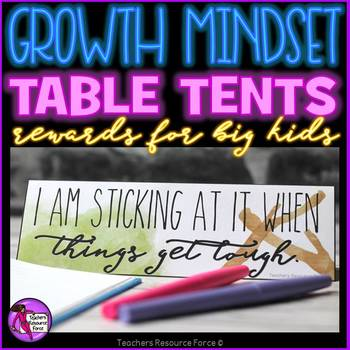 Growth Mindset Motivational and Rewarding Table Tents