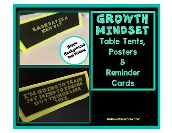 Growth Mindset Table Tents, Posters & Reminder Cards (Black Background)