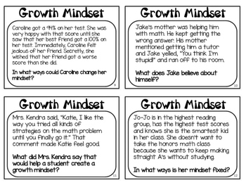 Growth Mindset Task Cards - Scenarios for Discussion Starters
