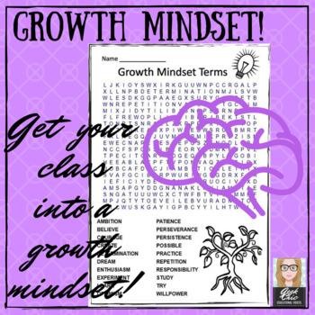 Growth Mindset Terms FREEBIE Word Search - ELA  / Vocabulary / Life Skills