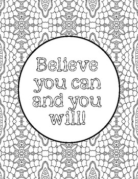 Growth Mindset/ Test Motivational Coloring Pages