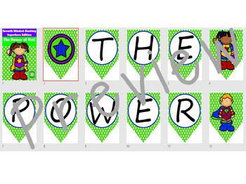 Growth Mindset- The Power of Yet! Superhero Edition Classroom Decor