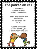 Growth Mindset- The power of Yet poster + Lesson plan + Bookmarks