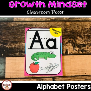 Growth Mindset Theme Classroom Decor- ABC Posters (Bright Colors)