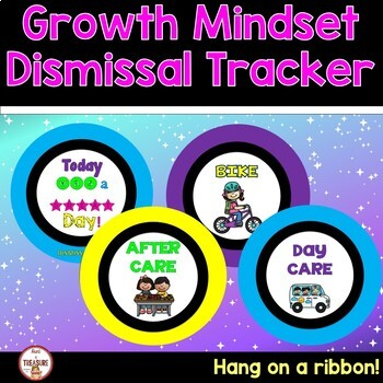 Growth Mindset Theme Classroom Decor- Dismissal Tracker (Bright Colors)