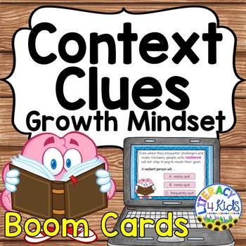 Growth Mindset Themed Context Clues Boom Cards (Digital Task Cards)