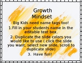 Growth Mindset Upper Elementary Name Tags