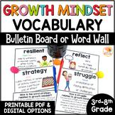 Growth Mindset Vocabulary   Growth Mindset Word Wall Bulletin Board