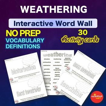 Science - Weathering - Interactive Word Wall Activity - NO PREP