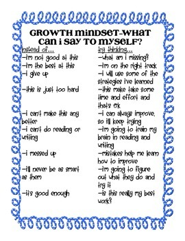 Growth Mindset- What Can I Say to Myself