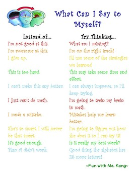 Growth Mindset: What Can I Say to Myself? Poster