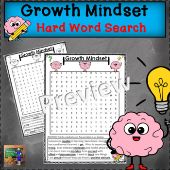 Growth Mindset Word Search - Hard