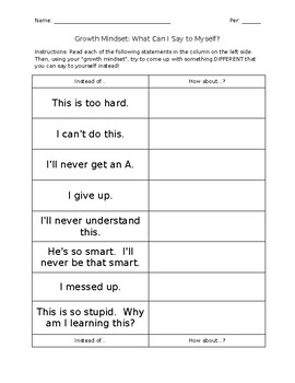 Growth Mindset Worksheet By Stocker S Busy Bees Tpt