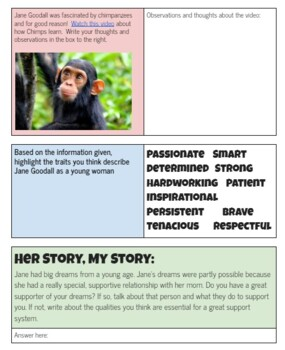 """Female Scientists Growth Mindset Activity Worksheets---""""Her Story, My Story"""""""