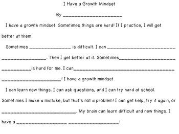 Growth Mindset Writing Frames for Special Education and Intervention