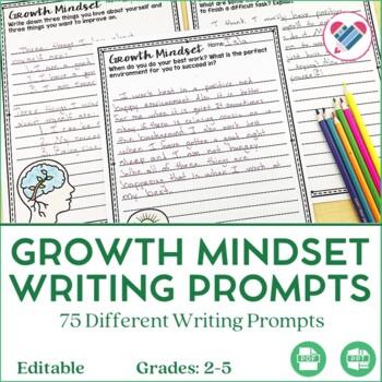Growth Mindset Writing Prompts EDITABLE