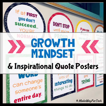 16 Growth Mindset Posters | Inspirational Quote Posters | Printable