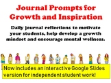 Growth Mindset and Mental Wellness Journal Prompts for Students