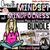 Growth Mindset and Mindfulness Lesson and PowerPoint BUNDLE (130 pages)