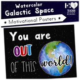 Growth Mindset and Motivational Posters | Watercolor Galaxy Space |