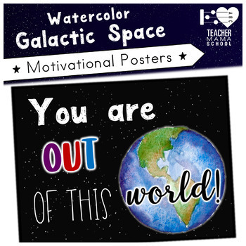 Growth Mindset and Motivational Posters   Watercolor Galaxy Space  