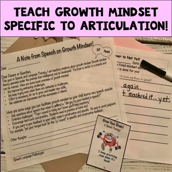 Growth Mindset for Speech: Teaching Story & Tiered Activities