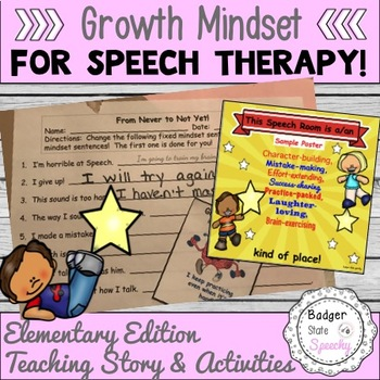 Growth Mindset for Speech Therapy Social Story and Tiered Activities