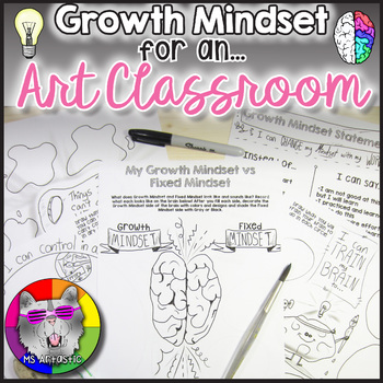 GROWTH MINDSET for your Art classroom! Promote resiliency and determination among your students! Perfect for pairing with Growth Mindset lessons or to use with Growth Mindset coloring pages.