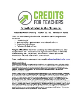 Graduate Level PD Course (3 Semester Credits) - Growth Mindset in the Classroom: