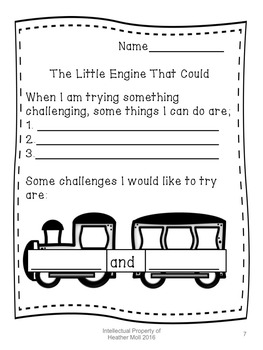 Growth Mindset lesson about Perseverance using The Little Engine That Could