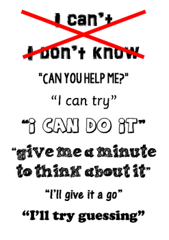"""Growth Mindset poster - """"I can't, I will"""""""