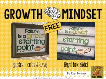 Growth Mindset poster/light box insert FREE