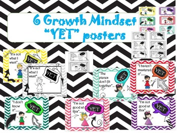 Growth Mindset power of YET posters in color and BW