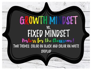 Growth Mindset vs. Fixed Mindset Posters