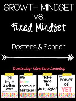 Growth Mindset vs. Fixed Mindset Posters & Banner Set