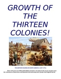 Growth Of The Thirteen Colonies - student packet/handout