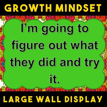 Growth VS Fixed Mindset Wall Display Poster Hearts and Flowers