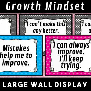 Growth Mindset Train the Brain Wall Display Posters Polka Dot