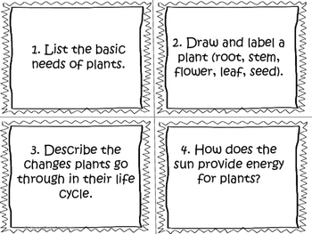 Growth and Changes in Plants Task Cards