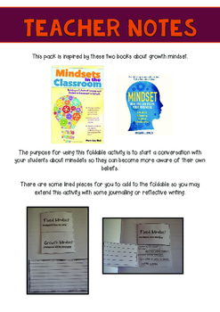 Growth and Fixed Mindset Foldable and Posters