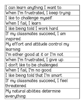 Growth and Fixed Mindset Sort