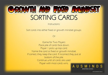 Growth and Fixed Mindset Sorting Cards